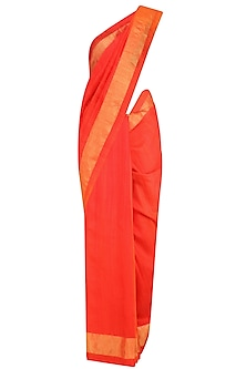 Bright Red and Gold Border Handloom Saree