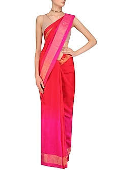 Red and Hot Pink Shaded Handloom Saree by Karma Designs