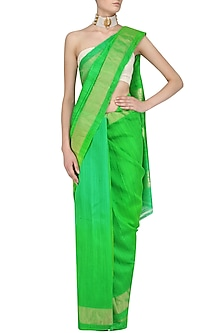 Green Printed Motifs Handloom Saree by Karma Designs