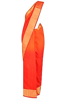 Orange and Gold Printed Motifs Handloom Saree