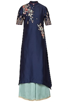 Royal Blue Embroidered Kurta With Aqua Blue Palazzo pants by KAIA