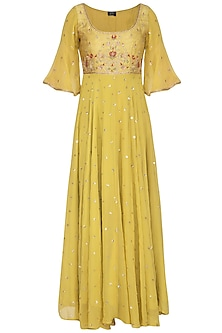 Lime Yellow Embroidered Anarkali Set by KAIA