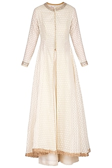 Off White Embroidered Anarkali Set by KAIA