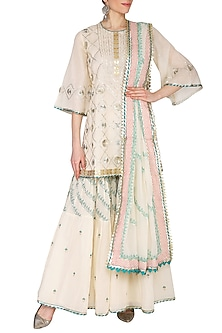 Off White Embroidered & Printed Gharara Set by KAIA
