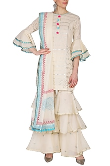 Off White Embroidered & Printed Layered Gharara Set by KAIA