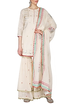 Off White Pearl Embroidered & Printed Gharara Set by KAIA