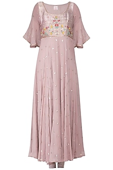 Dusky lavender embroidered anarkali set