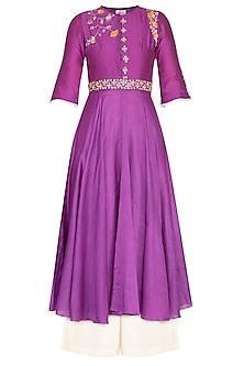 Purple embroidered anarkali with palazzo pants by KAIA
