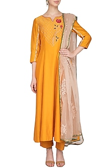 Apricot Yellow Embroidered Anarkali Set by Kaia