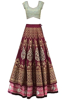 Wine and Aqua Embroidered Lehenga Set by KAIA
