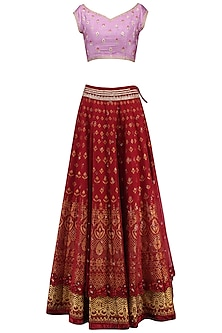 Mauve and Maroon Embroidered Lehenga Set