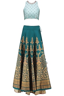 Powder Blue and Teal Embroidered Lehenga Set