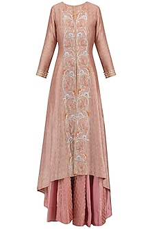 Peach Embroidered Jacket with Sharara Pants Set