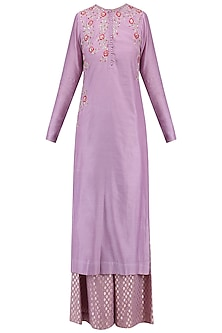 Lavender Floral Embroidered Kurta with Palazzo Pants Set