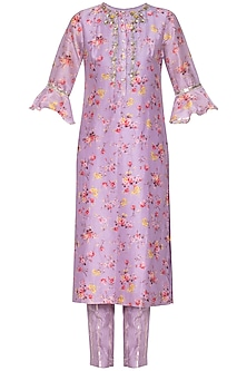 Mauve embroidered kurta with pants