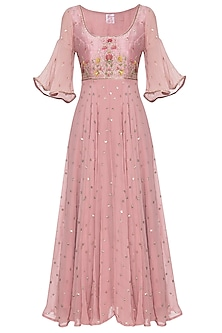 Rose dust embroidered anarkali set