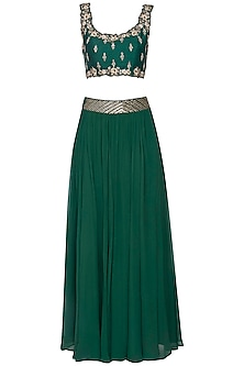 Emerald green embroidered lehenga set