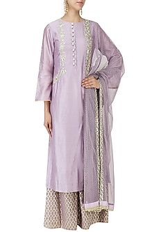 Muave Mirror Work Kurta with Palazzo Pants and Dupatta Set by KAIA