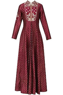 Maroon Embroidered Kurta Dress
