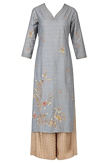 Dusky Blue Embroidered Kurta with Banarasi Palazzo Pants and Dupatta Set by KAIA