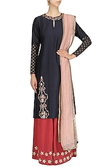 Indigo Blue Embroidred Block Printing Kurta and Palazzo Set by KAIA