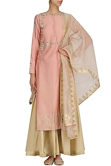 Lotus Pink Embroidered Kurta and Sharara Set by KAIA