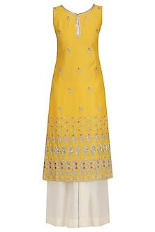 Yellow Embroidered Kurta and Khadi Palazzo Set by KAIA