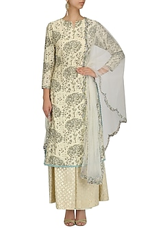 Ivory Printed Kurta and Banarasi Pallazo Set by KAIA