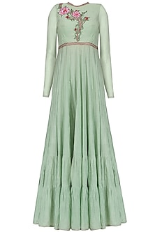 Sea Green Embroidered Tier Anarkali Set by KAIA