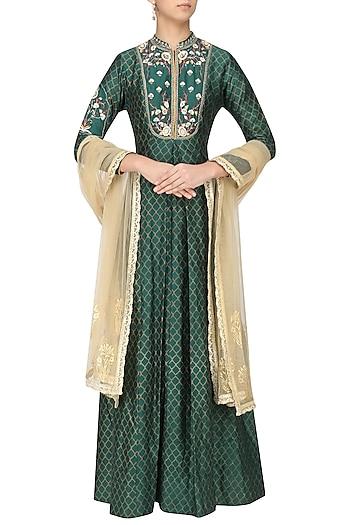Peacock Green Anarkali Set