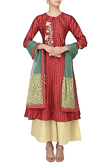 Red Embroidered Asymmetric Kurta with Palazzo Pants Set by KAIA