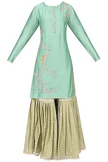 Sage Green Embroidered Kurta with Gharara Set by KAIA