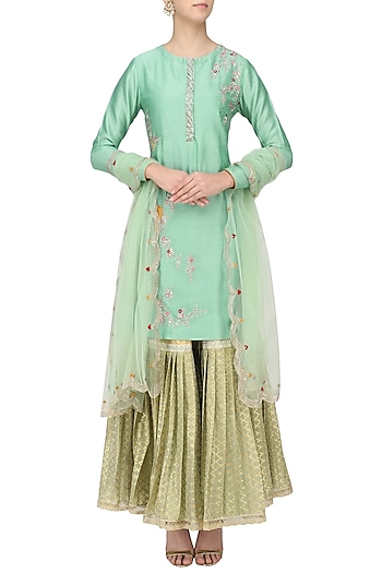 Sage Green Embroidered Kurta with Gharara Set by KAIA