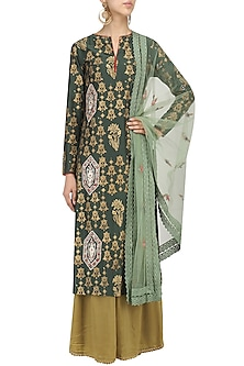 Emerald Green Embroidered Kurta and Palazzo Pants Set by KAIA