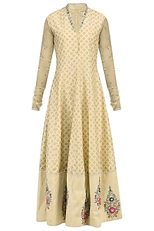 Beige Embroidered Anarkali with Peach Dupatta by KAIA