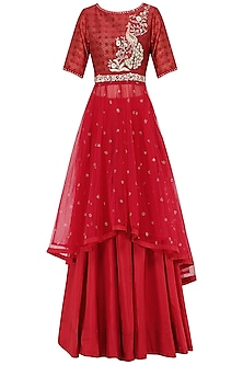 Red Embroidered Kurta With Lehenga Skirt Set