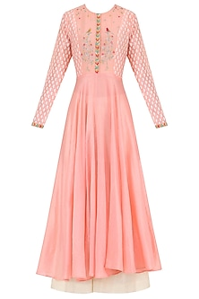 Salmon Pink Embroidered Kurta With Palazzo Pants