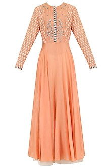 Orange Embroidered Kurta With Palazzo Pants