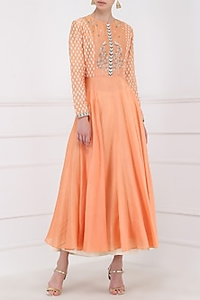Orange Embroidered Kurta With Palazzo Pants by KAIA