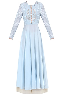 Pale Blue Embroidered Kurta With Palazzo Pants by KAIA