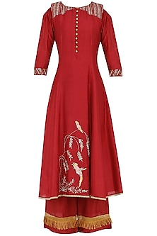 Red Embroidered Kurta With Palazzo Pants