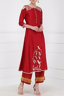 Red Embroidered Kurta With Palazzo Pants by KAIA