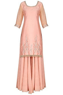 Light Pink Embroidered Kurta with Sharara Pants Set by KAIA