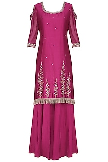 Magenta Pink Embroidered Kurta with Sharara Pants Set