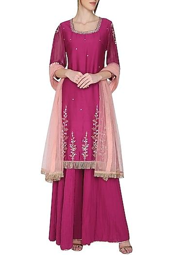 Magenta Pink Embroidered Kurta with Sharara Pants Set by KAIA
