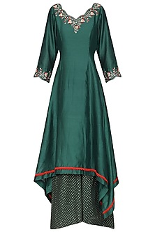 Spruce Green Embroidered Asymmetrical Kurta Set
