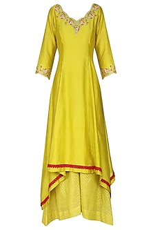 Yellow Embroidered Asymmetrical Kurta Set by KAIA