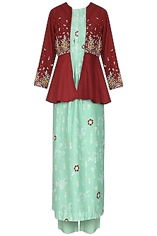 Maroon Embroidered Peplum Jacket with Aqua Blue Kurta and Pants by KAIA