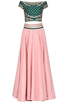 Green Off Shoulder Embroidered Blouse with Pink Skirt