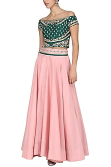 Green Off Shoulder Embroidered Blouse with Pink Skirt by KAIA